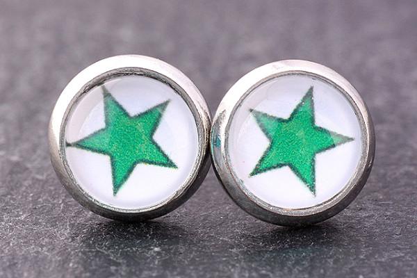 Stern - Ohrstecker, grün/weiß, silberfarben, Cabochon 8mm