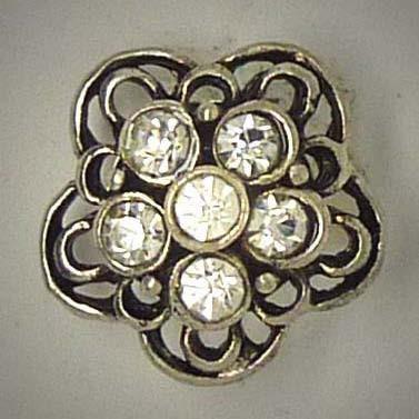 Mini Druckknopf, Blüte mit weißem Strass, ca. 16mm
