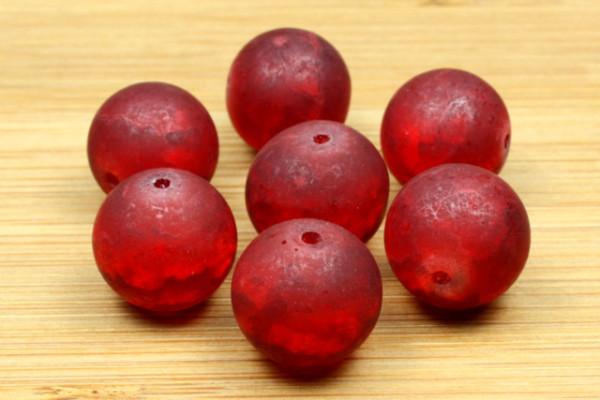 Glasperlen, rot marmoriert, 12mm