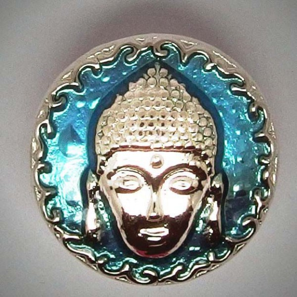 Druckknopf, Buddhakopf, türkis/silberfarben, ca. 20mm