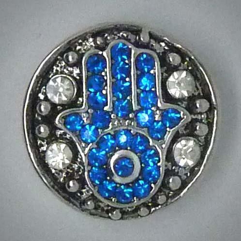 Druckknopf, Fatimas Hand, blauer Strass, ca. 20mm