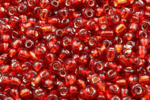 Rocailles, rund, rot mit Silberfolieneinzug, 2mm