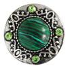 Click-Button, Stein mittig, grüner Strass, ca. 20mm