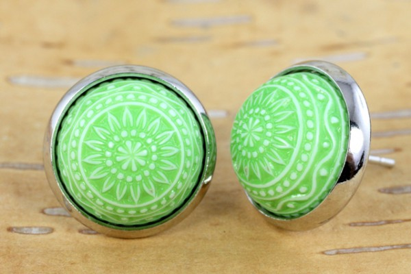 Ohrstecker, Mosaikperle, grün/weiß, silberfarben, 12mm