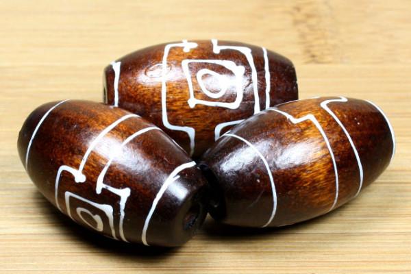 Holzperlen, Oliven, braun, handbemalt, 30x18mm