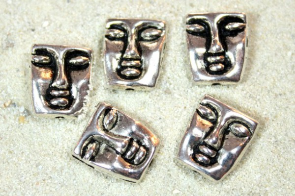 Metallperle, Maske, versilbert, 12x10mm