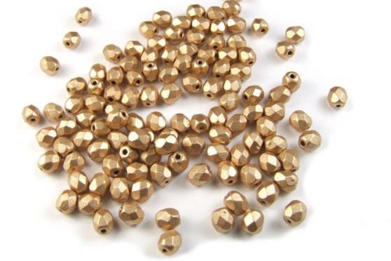 Böhmische Glasschliffperlen, goldfarben, 4mm, 50 Stück