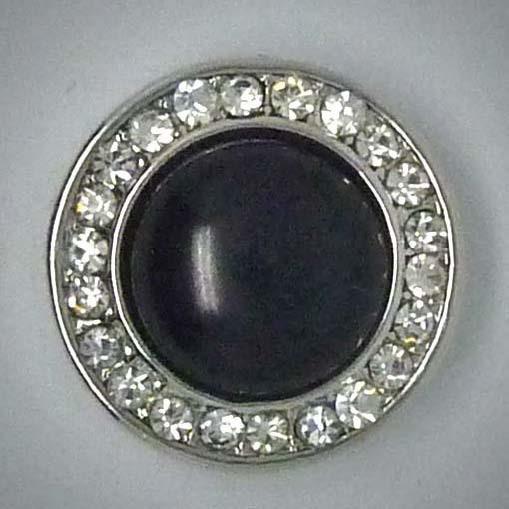 Click-Button, schwarz mit transparentem Strass, ca. 20mm