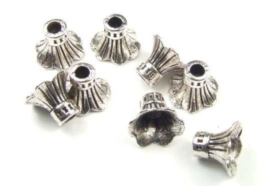 Perlkappen, kelchförmig, versilbert, 8x10mm