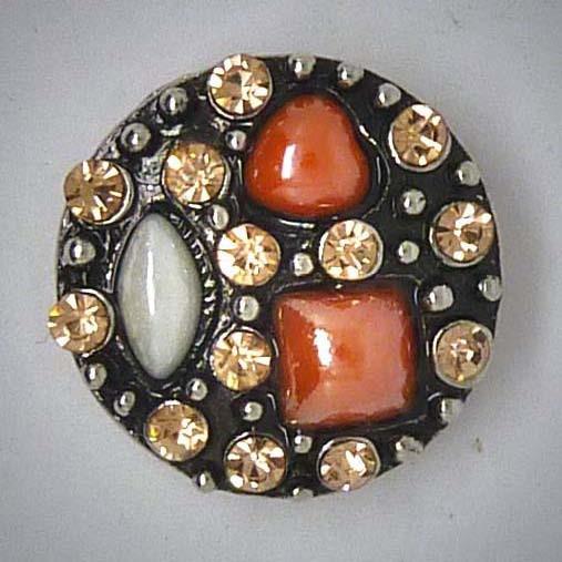 Druckknopf, verschiedene Steine braun/weiß, ca. 20mm