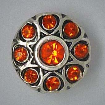 Mini Schmuckdruckknopf, Blüte mit orange Strass, ca. 13cm