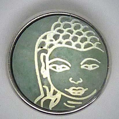 Druckknopf, Buddha in Stein, grau/weiß, ca. 18mm