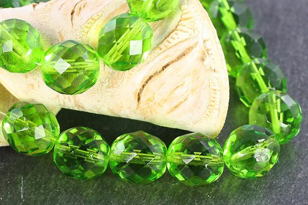 Schliffperlen, Böhmisch, light Olive, 12mm