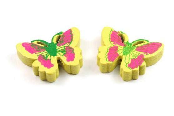 Holzperlen, Schmetterlingsform, gelb, 25x20x5mm
