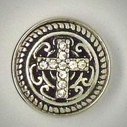 Druckknopf, Kreuz aus transparentem Strass, ca. 18mm