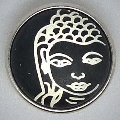 Druckknopf, Buddha in Stein, schwarz/weiß, ca. 18mm