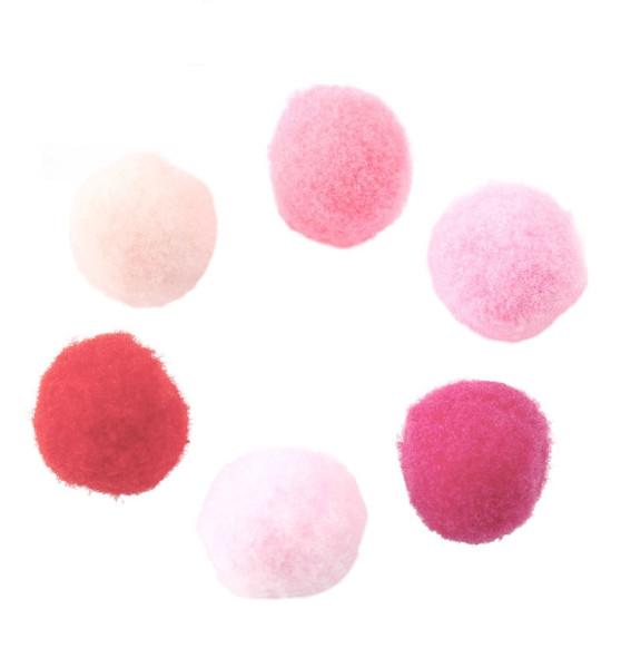 Pompon, rund, Rosa-Mix, ca. 15mm