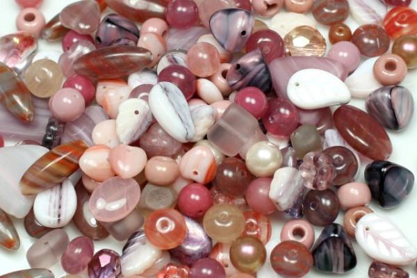 Perlenmix, böhmisch, rosa, 100 Gramm