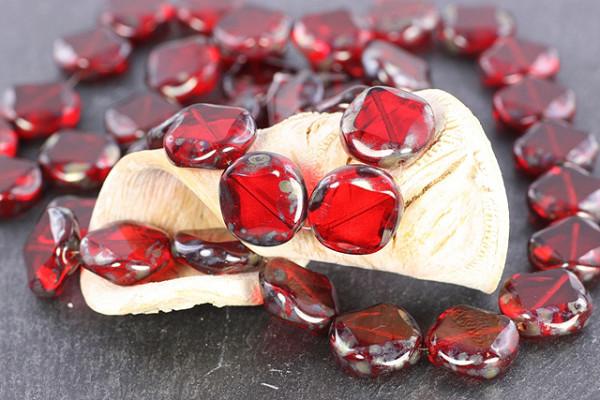 böhmische Glasperlen, rund, rot, 15mm