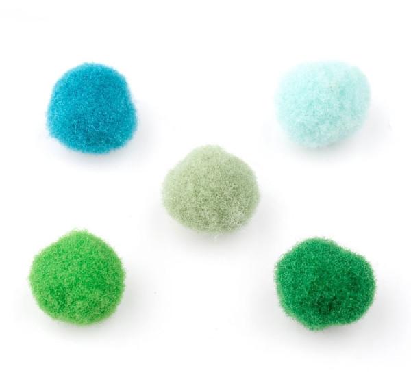 Bommel, rund, blau/grün-Mix, ca. 10mm
