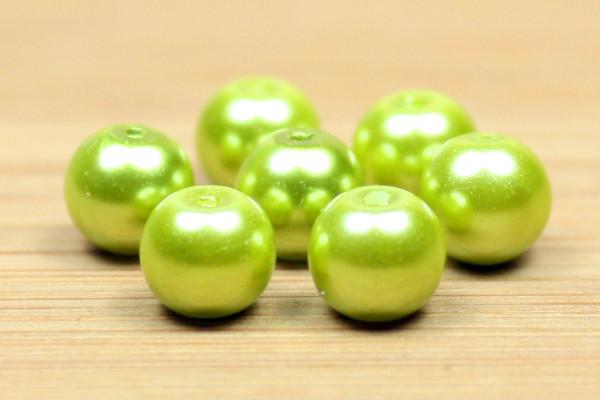 Glaswachsperlen, oliv, 6mm