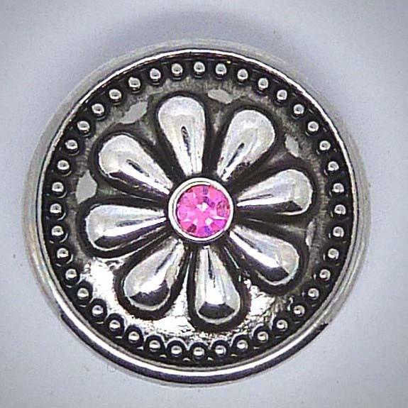 Druckknopf, Blume, rosa Strass mittig, 20mm