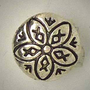 Mini Zierschmuckknopf, Blüte, silberfarben/schwarz, 13mm