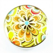 Druckknopf, Blume, bunt, 20mm