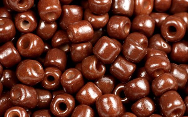 Rocailles, rund, chocolade braun, 15gr, 6/0, 4mm