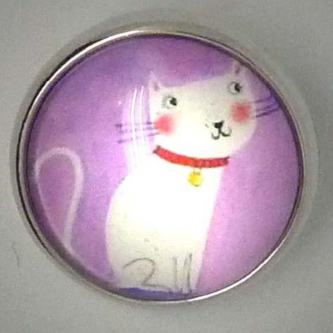 Druckknopf, Katze, rosa/weiß/silberfarben, ca. 20mm