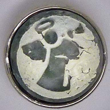 Druckknopf, Engel in Stein, grau/weiß, ca. 18mm