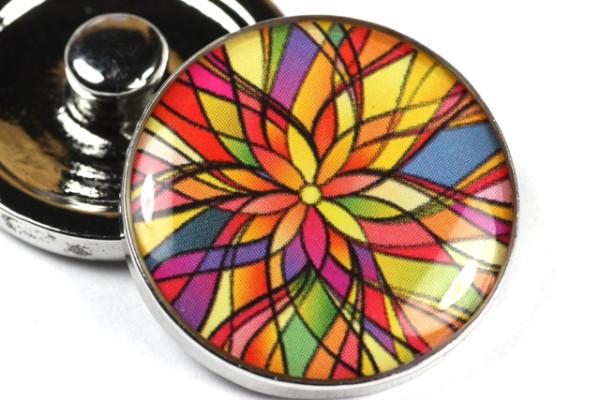 Druckknopf, Flower Multicolor, 20mm