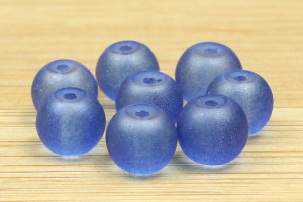 Glasperlen, satiniert, matt royalblau, 6mm