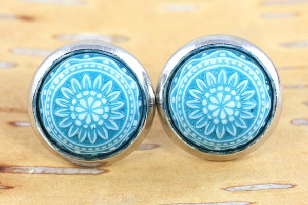 Ohrringe, Mosaikcabochon, türkis/weiß, silberfarben, 10mm