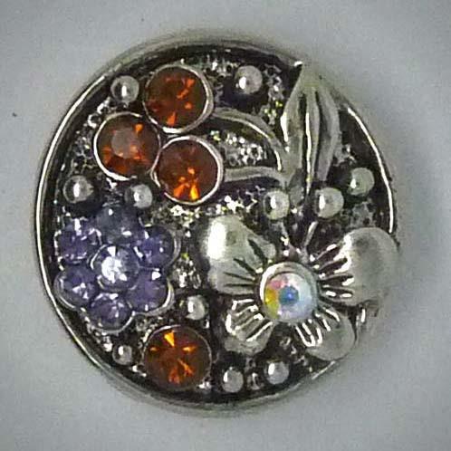 Druckknopf, Schmetterling und Blume, braun/lila