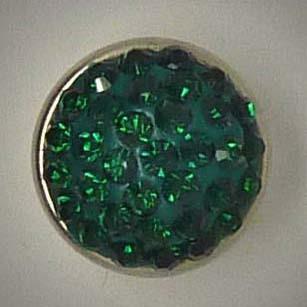 Mini Wechselschmuckknopf, Strass, dunkel grün, ca. 13mm
