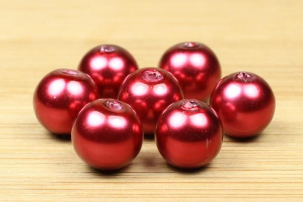 Glaswachsperlen, Crimsonrot, 8mm