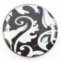 Druckknopf, Ornamente, schwarz-weiß, ca. 20mm