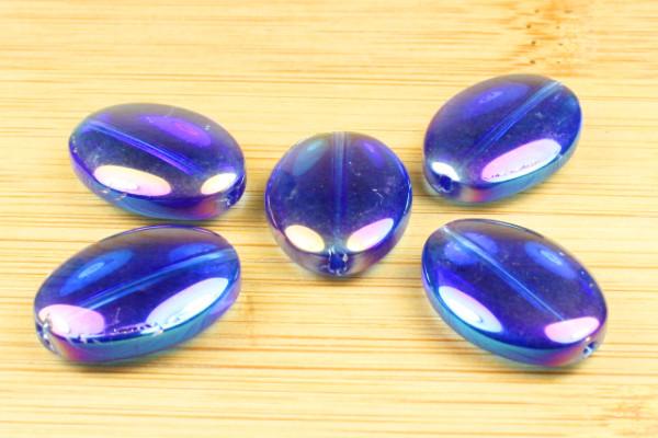 Glasperlen, oval, blau lüster, 18x13mm