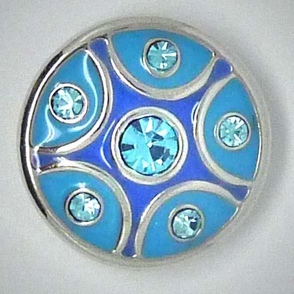 Druckknopf, türkis/blau mit Strass, ca. 20mm