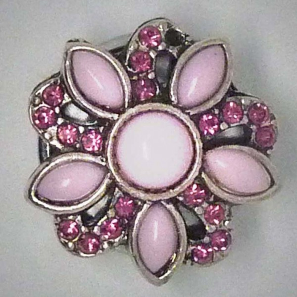 Druckknopf, Blüte, rosa Strass, ca. 23mm
