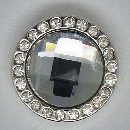 Druckknopf, facettierter Stein mittig + Glitzerrand, ca. 20mm