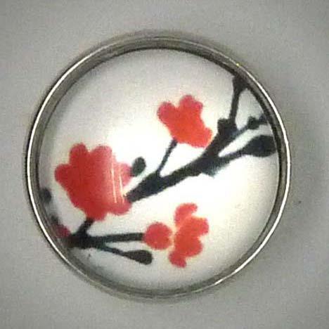 Click-Button, japanische Kirsche, weiß-rot-schwarz, ca. 18mm