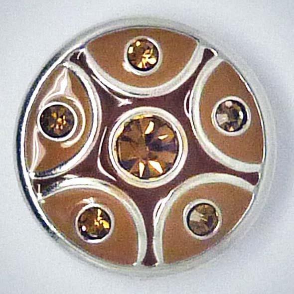 Druckknopf, brauner Strass, ca. 20mm