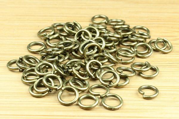 Binderinge, bronzefarben, rund, 8mm, 25 Stück