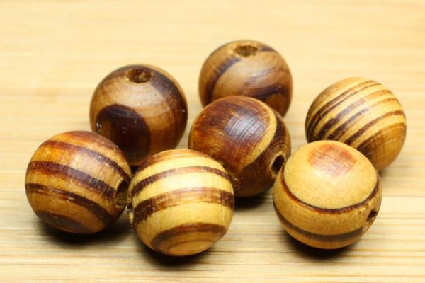 Holzperlen, Wurzelholz, rund, natur, 12mm