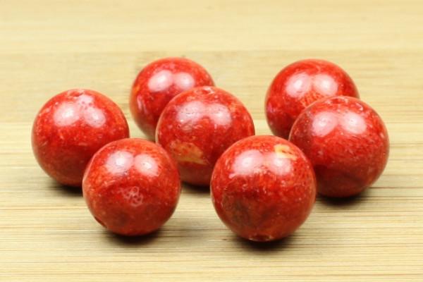 Schaumkoralle, rot, poliert, 10mm