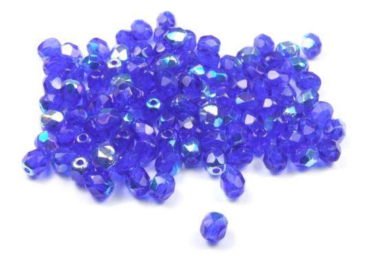Schliffperlen, böhmisch, royalblau AB, 4mm, 50 Stück