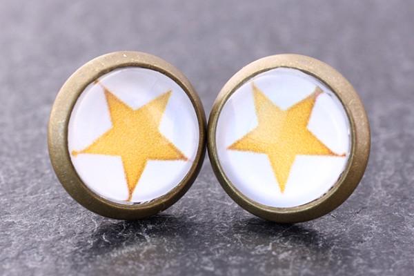Miniohrstecker, Stern, gelb/weiß, bronzefarben, Cabochon 8mm