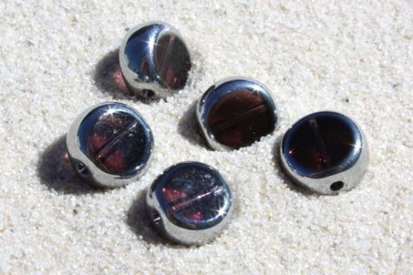 Glasperle mit versilberter Fassung, violett, 8mm